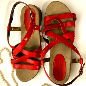Naturalizer Red Leather Sandal Size 9.5